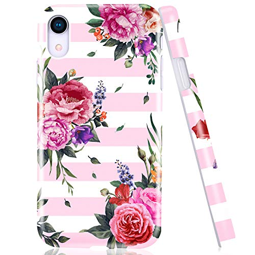 Emogins Phone Case for Apple iPhone XR with Blooming Red Pink Flowers Patterns Stripe Design, Slim Soft TPU Shockproof Rubber Flexible Silicone Protective Cover