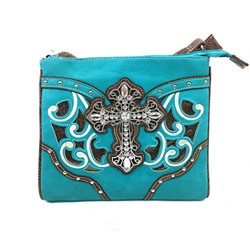 Justin West Western Laser Cut Gleaming Rhinestone Silver Cross Studs Magnetic Flap Messenger Handbag with CrossBody Strap (Turquoise)