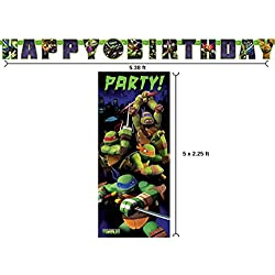BT Teenage Mutant Ninja Turtle Birthday Banner and 2.25ft x 5ft Party Door Poster