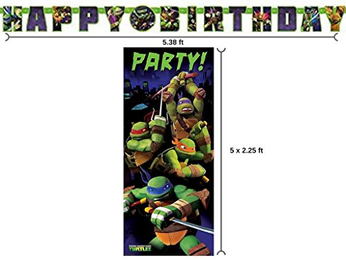 BT Teenage Mutant Ninja Turtle Birthday Banner and 2.25ft x 5ft Party Door Poster -