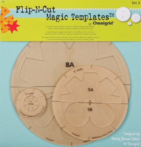 Omnigrid 1-2-5-8-Inch Flip-N-Cut Magic Templates, Set 2