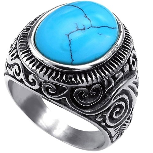 Mens Classic Vintage Turquoise Biker Stainless Steel Ring Band Silver Blue