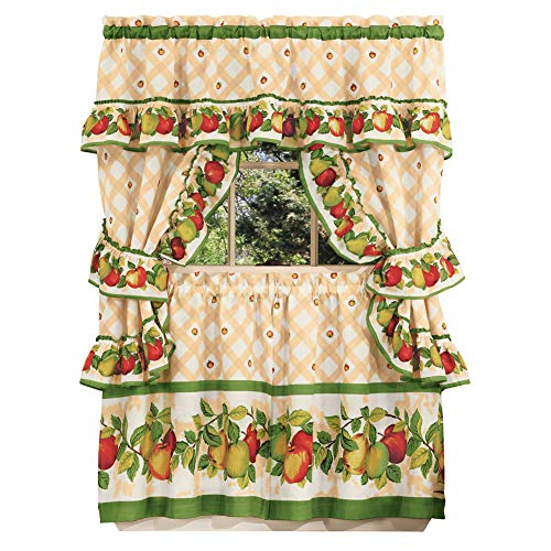 Collections Etc Apple Orchard Ruffled Tier Window Curtain Set - Includes Swag Valance, Two Tiers, and Two Tie Backs, 57