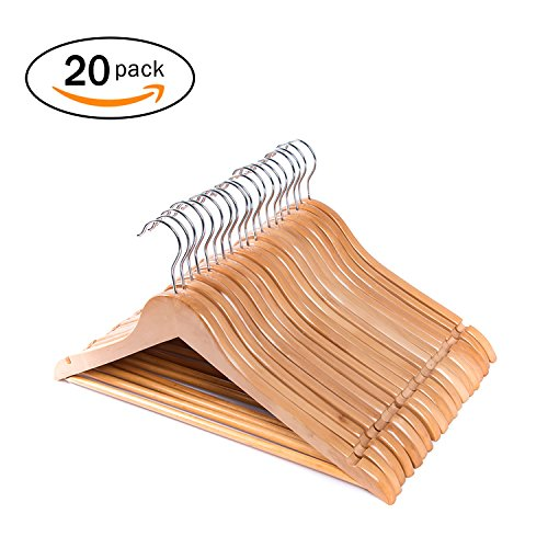 Wooden Trouser Hangers (Joy Home Multifunctional High Grade Maple Solid Wooden Suit Hangers Natural Finished with Anti-rust Hooks and Non-slip Bar 20 Pack)