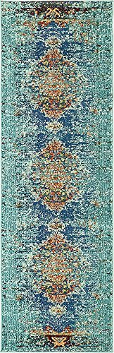 Unique Loom Vita Collection Traditional Over-Dyed Vintage Turquoise Runner Rug (2' 0 x 6' 7) (Turquoise Stair Carpet)