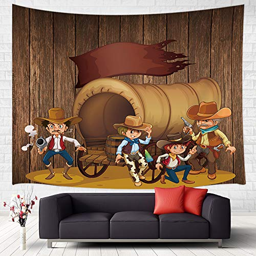 (Western Cowboy Tapestry Wall Hanging, Illustration of Old Wild West Elements with Rope Shoes and Silhouette of Cowboy Print Wall Tapestry Art for Home Decor College Dorm Living Room Bedroom, 71X60Inch)