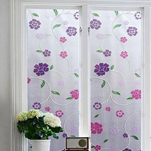 Film Static Cling Privacy Film Flower Window Covering No Glue Decorative Window Sticker for Home/Bathroom/Sliding Glass Door Decor 17.7