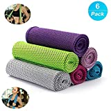 Cooling Towel, Cooling Ice Sport Towel, Soft Breathable Chilly Microfiber Towel for Yoga, Sport, Running, Gym, Workout,Camping, Fitness, Workout & More Activities.[6 Pack]