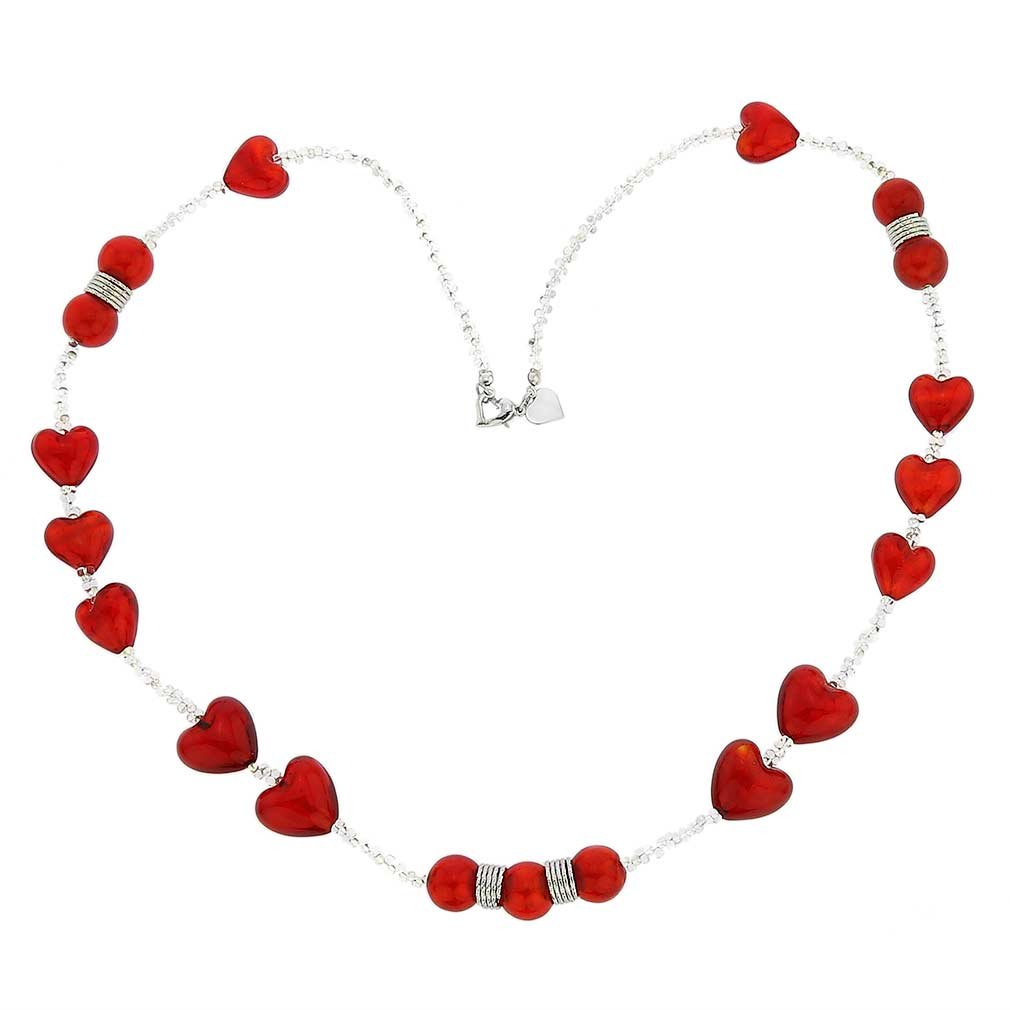 GlassOfVenice Passione Silver Red Hearts Murano Glass Necklace by GlassOfVenice