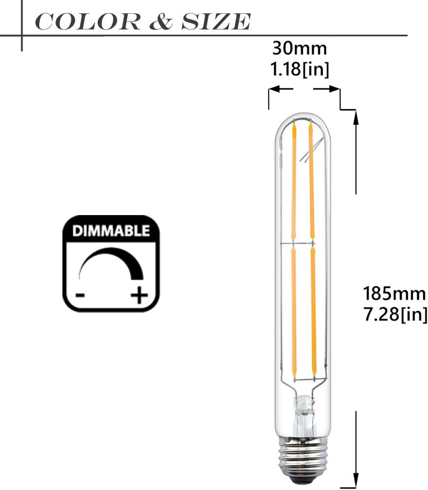 8W Edison T10 Clear Glass Light Bonlux Dimmable LED T10 Tubular Filament Bulb 2-Pack 80W Incandescent Replacement Bulb E26 Medium Base Daylight 6000K for Display Piano Desk Light