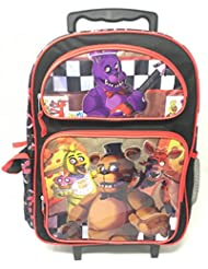 Five Nights At Freddys Large School Roller Backpack 16 inches Trolley Red Rolling Bag