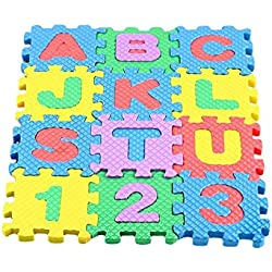 Wildgirl Small Pet House Cartoon Letter Number Puzzle Floor Terrarium Decorative Mat 12pcs