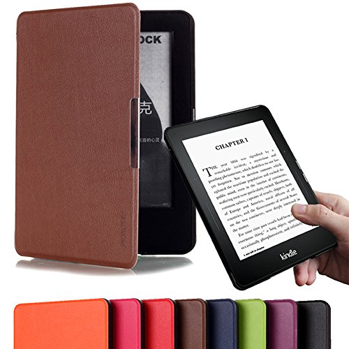 Pasonomi® Amazon Kindle Voyage Case Cover - Classic Slim Fit Folio Smart Leather Shell Case for Kindle Voyage 6 inch High-Resolution Display 2014 Version (Smart Auto Sleep/Wake feature) (Brown)