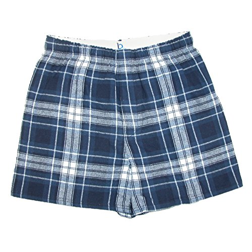Boxercraft Mens Cotton Flannel Plaid Boxer Sleep Shorts, Large, Navy and White (Boxer Flannel White Short)