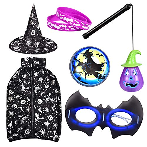 FUN LITTLE TOYS Pretend Play Witch Costumes for Girls, Toddler Costumes for Costume Party Black -