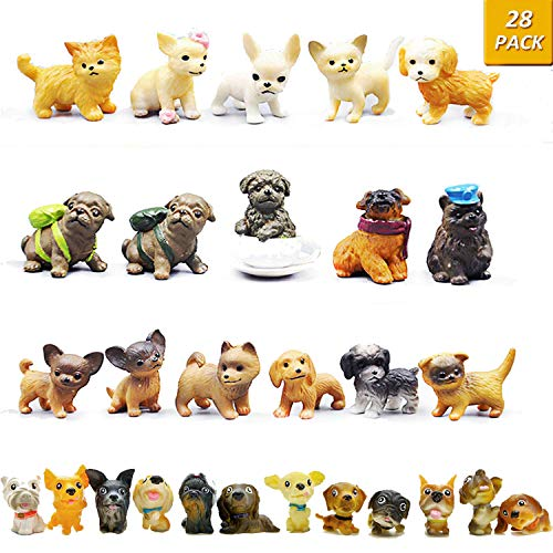 GuassLee Mini Plastic Puppy Dog Figurines for Kids - 28 Pack High Imitation Detailed Hand Painted Realistic Small Dog Figurines Toy Set