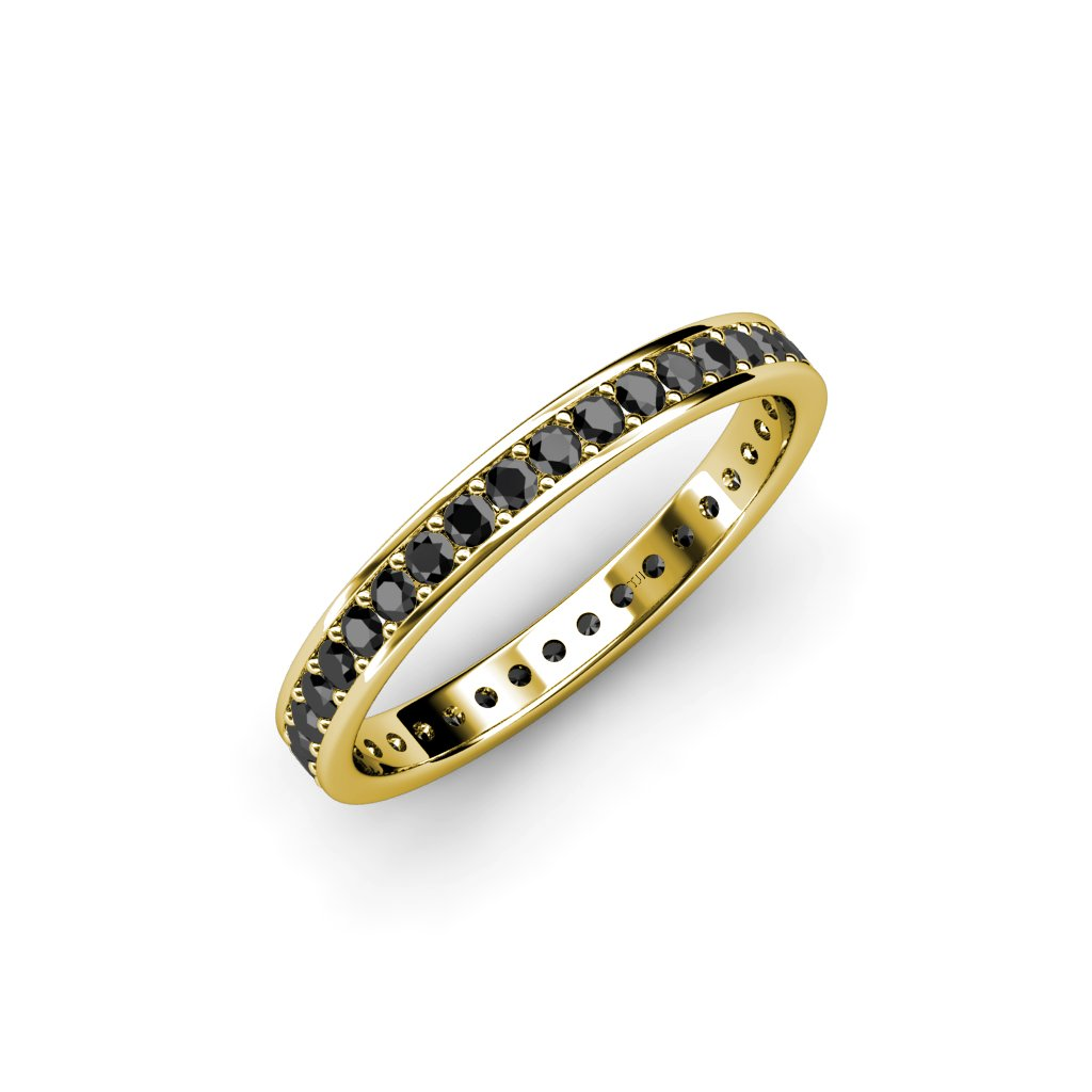 Black Diamond Channel with Prong Set Eternity Band 0.74 ct tw to 0.84 ct tw in 14K Yellow Gold.size 8.5