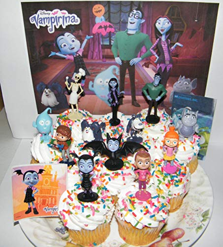 Disney Vampirina Deluxe Cake Toppers Cupcake Decorations Set of 14 with 12 Figures and 2 Fun Stickers Featuring Family, Friends, Wolfie, Demi the Ghost and More!