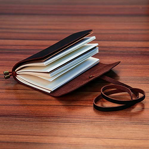 LEATHER JOURNAL Writing Notebook,Refillable Handmade Traveler's Notebook,Antique Leather Diary for Men & Women,Perfect to write in, Travel Journal, Small Leather Notebook with Pen,Black by COMESONG (Image #5)