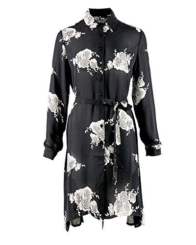 UAISI2018 Women 100% Mulberry Silk Mid Long Dress Casual Summer Print Skirt (XL, Black) by UAISI