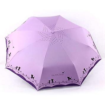 HEXCGHF Paraguas Flores y Paraguas Gato Lluvia Mujeres a Prueba de Viento Ultraligero Sun Rain Sombrillas