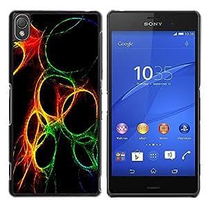 Be Good Phone Accessory // Dura Cáscara cubierta Protectora Caso Carcasa Funda de Protección para Sony Xperia Z3 D6603 / D6633 / D6643 / D6653 / D6616 // Green Yellow Fire Black