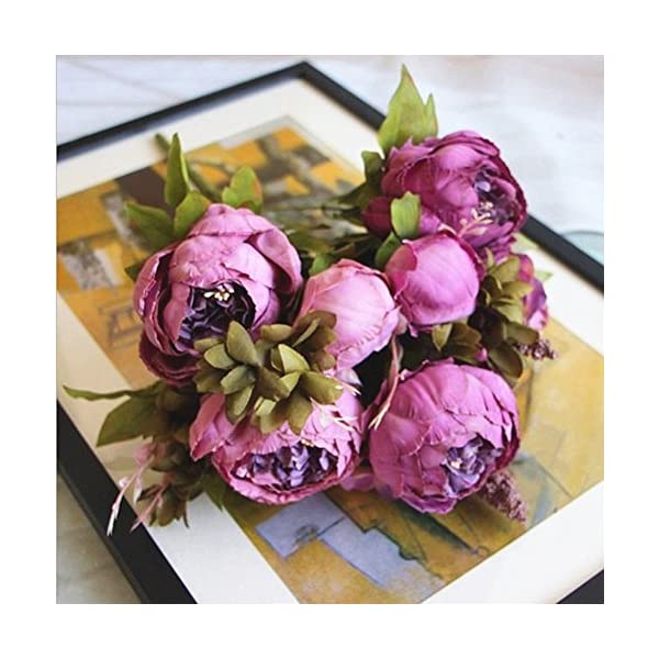 SHINE-CO LIGHTING Artificial Peony Silk Flowers Bouquet Glorious Moral for Home Office Parties and Wedding (Purple)