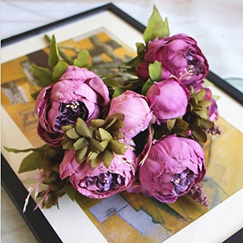 Artificial Peony Flower Bouquet for Wedding Purple - 7