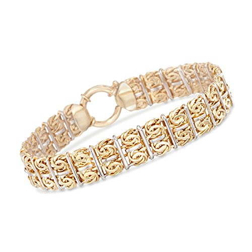 Ross-Simons Two-Tone Sterling Silver Double-Row Byzantine Bracelet