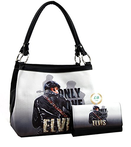 Elvis Presley Black Leather (Elvis Presley Medium Purse Wallet Set, ONLY ONE (Black 1))