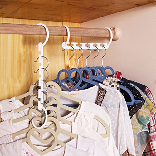 Bluelover 8Pcs Space Saver Wonder Hanger Magic Clothes Hook Closet Organizer Rack Multifunzionale Prezzi