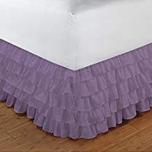 Floris Fashion Cal Queen 300TC 100% Egyptian Cotton Lilac Solid 1PCs Multi Ruffle Bedskirt Solid (Drop Length: 22 inches) - Tailored Finish Super Comfy Easy Care Fabric
