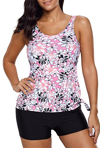 Dokotoo Womens Cute Sexy Blouson Bandeau Patchwork Maternity Printed Tummy Control Tankini Swimsuit Tops Two Piece Bathing Suit Swimwear With Shorts Pink X-Large Tankini Swim Top Cute Swimwear