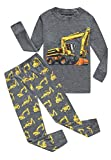 Family Feeling Excavator Little Boys Long Sleeve Pajamas Sets 100% Cotton Pyjamas Kids Pjs Size 7 Grey