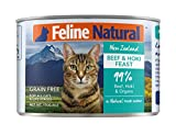 Canned Cat Food by Feline Natural - Perfect Grain Free, Healthy, Hypoallergenic Limited Ingredients - BPA-Free Wet Cat Food - Nutrition for All Cat Types - Beef & Hoki - 6oz (24pack)