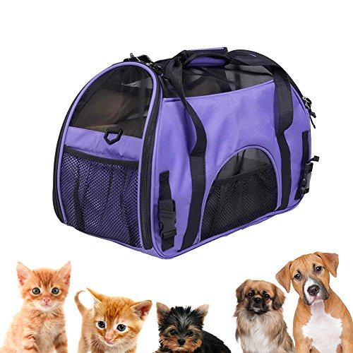 Small Durable Two Sided Dog and Cat Carrier, Portable Puppy Travel Carrier Bag Under Seat Foldable Pet Travel Bag, Airline Approved, Removable Soft Cotton seat, 16.5×11.4×7.8 Inch, Purple