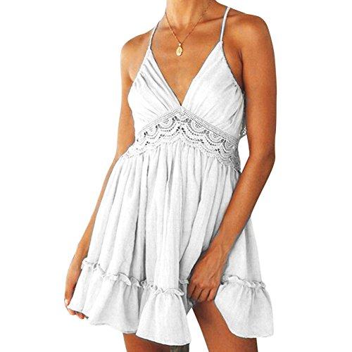 sin para mujer cintura Dxlta alta White Vestido de Estilo mangas de Bohemia poliéster Sin respaldo pB5xqxw10