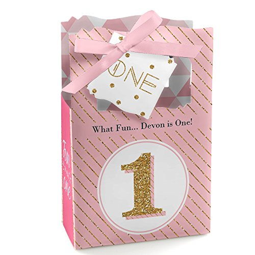 Custom Fun to be One - 1st Birthday Girl - Personalized First Birthday Party Favor Boxes - Set of 12 ()