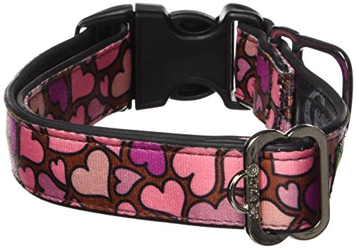 Cycle Dog Bottle Opener Recycled Dog Collar, Pink Hearts, Medium