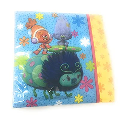 Trolls Have Poppy Day Dessert Bundle: 16- 7 Inch Square Plates and 16 Lunch Napkins: Kitchen & Dining