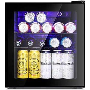 LEONARD USA 52 L Inverter Toughened Glass Door Mini Fridge with LED Interior Light & Temperature Control for Home…