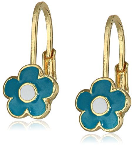 "Little Miss Twin Stars Girls' ""Frosted Flower"" 14k Gold Plated Flower Leverback Earrings"