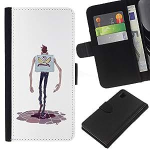 ZCell / Sony Xperia Z1 L39 / Cartoon Character Hands Skinny Man Skull / Caso Shell Armor Funda Case Cover Wallet / Dibujo animado carácter