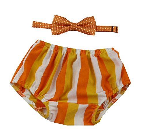Cake Smash Outfit Boy First Birthday includes Bloomers and Bow Tie (Halloween Candy Bloomer and Orange White Polka Dot Bow)