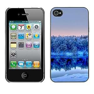 "For Apple iPhone 4 / 4S , S-type Naturaleza Winter White Lake"" - Arte & diseño plástico duro Fundas Cover Cubre Hard Case Cover"