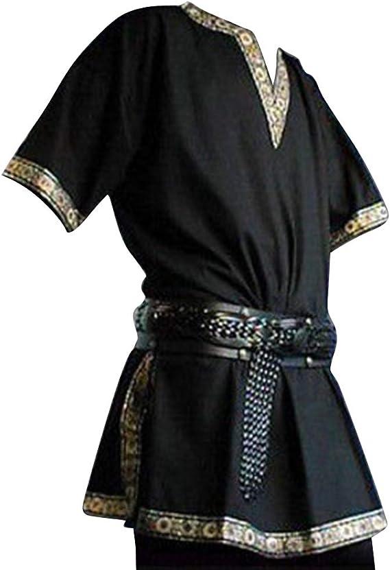 Hombres Túnica Medieval - Vintage Renacimiento Camisa Disfraz Moda ...