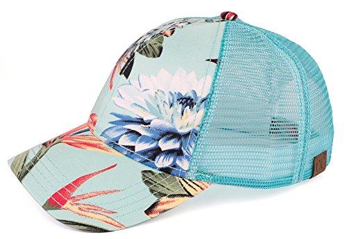 H-6140-8554 Floral Trucker Hat - Mint (Original) (Hat Floral Cap)