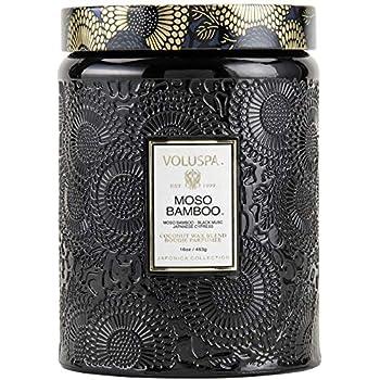 Amazoncom Voluspa Moso Bamboo Large Embossed Glass Jar 16 Oz