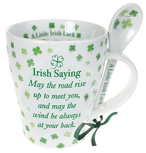 Shamrock Gift Co Irish Mug And Spoon Set, Four Leaf Clover Irish Saying