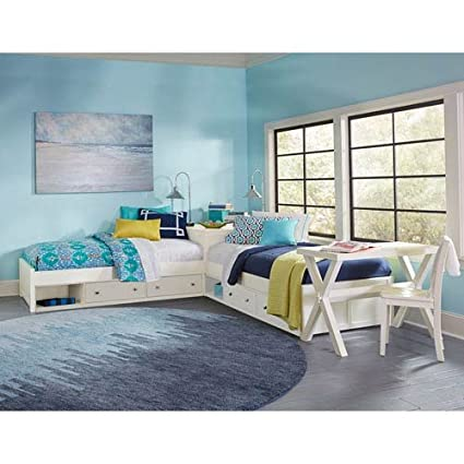 NE Kids Pulse Twin L Shaped Storage Bed In White
